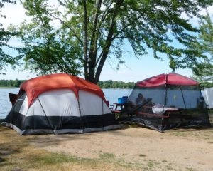 A pair of side-by-side, lakefront sites to enhance your camping pleasure.