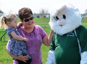 Easter Bunny with Mom & Daughter at Greenwood Acres Family Campground