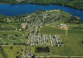 High altitude view of Greenwood Acres Campground, Jackson, MI